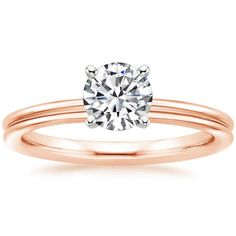 2mm Grooved Comfort Fit Solitaire Diamond Engagement Ring - 14K Rose Gold