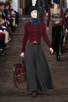 Like the overall look of this outfit - Ralph Lauren Fall 2013 burgundy red sweater charcoal heather grey long skirt bag blue velvet scarf Skirt Outfits, Winter Outfits, Ralph Lauren Style, Ralph Lauren Fashion, Ralph Lauren Womens Clothing, Review Fashion, Mode Vintage, Mode Inspiration, Modest Fashion