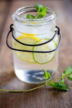 """Skinny Water"" -- Lemon, Mint, & Cucumber Water. Sounds so refreshing. I need to shed 15 pounds that I have put on since my wedding day and I have an infusion pitcher. I see this in my near future!"