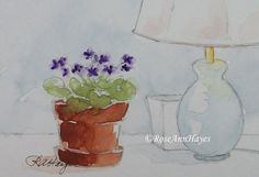 Purple African Violets with Lamp Original Watercolor Painting Floral ACEO