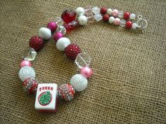 Mahjong Necklace in Red, White and Pink - Mahjong Gift - Jesse James Beads - Mahjongg Joker by MahjongJewelry on Etsy