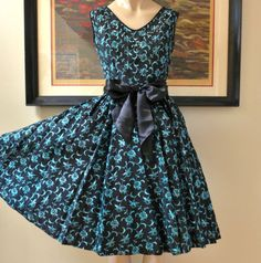 Vintage 1950's Floral Embroidery on Black by inVintageCondition, $175.00