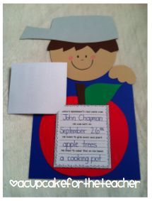SUPER cute Johnny Appleseed Unit.  JA is my FAVORITE unit and I am def using this this year!  A Cupcake for the Teacher: Johnny Appleseed {Craftivities}