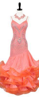 ballroom standard smooth dress coral peach - Google Search