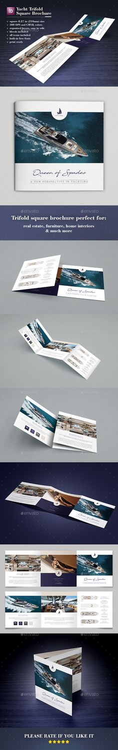 Yacht Trifold Square Brochure Template InDesign INDD