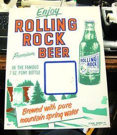 vintage+rolling+rock+beer+ads | VINTAGE-ROLLING-ROCK-BEER-ADVERTISING-CARDBOARD-SIGN-LABROBE-PA-IRTP ...