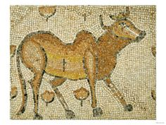 A Byzantine Marble Mosaic Panel Depicting Humped Bull, circa 5th-6th Century AD