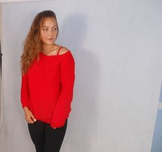 Hand Knit Sweater Tunic Knit Women's Sweater Red Pullover