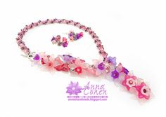 Pink and violet floral necklace and earrings set FREE SHIPPING