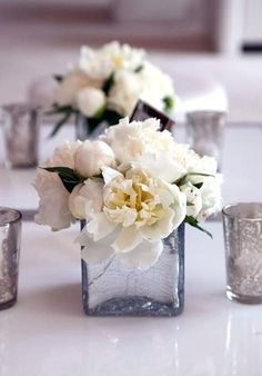 WEDDING Flowers, White peonies in crackled glass vases. White Flower Centerpieces, Peonies Centerpiece, White Flower Arrangements, Table Flowers, Peonies Wedding Centerpieces, Peony Arrangement, Simple Centerpieces, Centerpiece Ideas, White Peonies