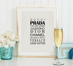 Fashion poster,Gucci Prada Chanel Versace,Fashion print,Coco Chanel,Room poster,Modern home decor,Fashion room poster,Dior,Instant download