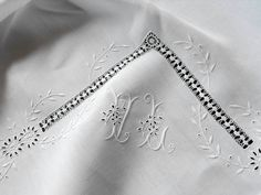 French Vintage Linen Tablecloth with12 Napkins Beautiful Hemstitching and Embroidery.