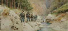 Les Diables Bleus - the 21st Regiment of the Chasseurs Alpins. A platoon on a mountain path by a stream