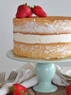 Tres Leches Cake - vanilla sponge cake with a cinnamon soak, whipped cream and fresh strawberries. Layer Cake Recipes, Best Cake Recipes, Icing Recipes, Layer Cakes, Favorite Recipes, Making Whipped Cream, Homemade Whipped Cream, Fun Desserts, Dessert Recipes