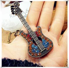 Simulated Diamond Vintage Guitar Long Necklace Sweater Chain Female
