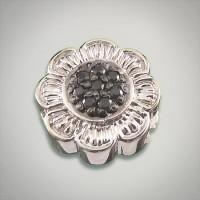 GK Coloures sterling silver black pave cubic zirconia flower inspired slide Metal:Sterling Silver Designer:Goldman-Kolber $ 90.00 Item #: 44V6FU Call 870-863-8818 for personal consultation.