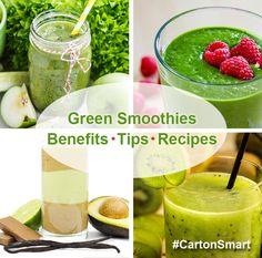 GREEN SMOOTHIES: BENEFITS, TIPS and RECIPES - Greens tend to be lower on the glycemic index than fruits. This will help to improve blood sugar stabilization and can support weight loss. #cartonsmart
