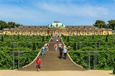 https://flic.kr/p/hYkK6m | Sanssouci palace, Germany (UNESCO world heritage site) | Wikipedia: Sanssouci is the former summer palace of Frederick the Great, King of Prussia, in Potsdam, near Berlin. It is often counted among the German rivals of Versailles. While Sanssouci is in the more intimate Rococo style and is far smaller than its French Baroque counterpart, it too is notable for the numerous temples and follies in the park. The palace was designed/built by Georg Wenzeslaus von…