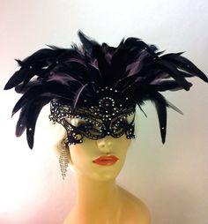 Swarovski Crystal Rhinestone Black Lace Mask, Masquerade Ball, Eyes Wide Shut, Fetish Mask, Black, Speakeasy
