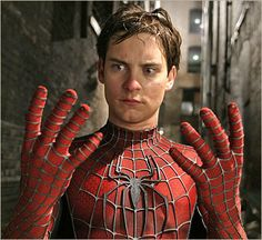 Spiderman (Peter Parker) portrayed by Tobey Maguire.   I just watched Spiderman 1. The awesomeness of Peter Parker is simply too much. :-P