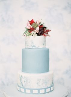 powder blue wedding cake  Read More: http://www.stylemepretty.com/2014/08/04/romantic-french-garden-inspired-photo-shoot/