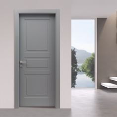 Wood interior door Quartz color, LP28 model. Discover the features, contact the company and find out the store nearest you.