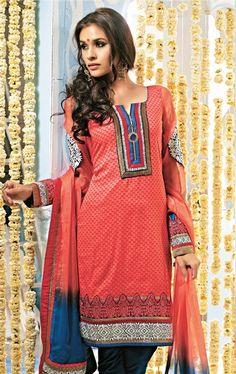Stylish Peach Color Party Wear Salwar Salwar Kameez Set INHSPRIN2110 - www.indianwardrobe.com