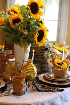 StoneGable: Bees and Sunflower Tablescape Wednesday September 7, 2011 - Pairing bees with Sunflowers - the color scheme kept simple in several patterns in black!