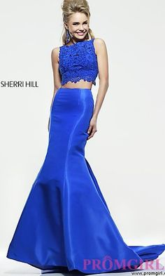 Floor Length Two Piece Sherri Hill Dress at PromGirl.com