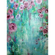 """""""Climbing Roses II"""" by Annie Flynn Painting Print on Wrapped Canvas"""