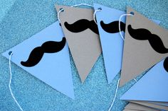 Mustache Party Banner in Gray and Baby Blue by CupcakeSocial