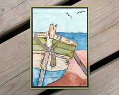 Boat Watercolor   by saltonscovestudio,