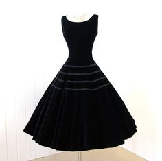 Vintage 1950's black velvet with satin bows party dress