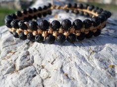 Bracelet shamballa patience et apaisement en perles de pierre de lave par LILI-M - Nos boutiques de créateurs/LILI-M lithothérapie - Valenteens Créateurs
