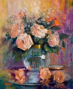 Peach roses oil painting by Nora Kasten