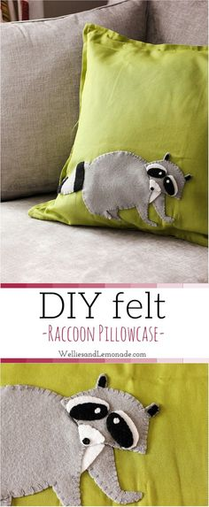 DIY felt raccoon pillow.                                                                                                                                                                                 More