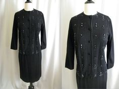 Vtg 1950s 60s 2 pc Outfit Gino Paoli Sweater-Jacket Skirt Dress Sequin Beaded S #GinoPaoli