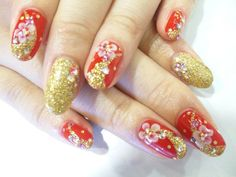 kimono -- gold and red