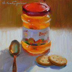 "Daily Paintworks - ""Peachy Snack"" by Elena Katsyura"