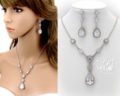 Wedding Necklace Earrings set Zirconia by PureRainDesigns on Etsy, $65.00