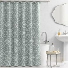 Ellery Holdings Llc - Vue Signature Iron Gates 72-Inch x 96-Inch Shower Curtain - A pattern reminscent of a scrollwork wrought-iron gate, as well as a calming azure background, give this curtain an elegant, English look. It's made of easy-care woven jacquard.