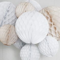 Event Decoration - Clarissa Full Pouf Kit - these would look fabulous combined with bunting! Noel Christmas, White Christmas, Christmas Balls, Xmas, Origami, Honeycomb Decorations, Party Props, Party Ideas, Grey And Beige