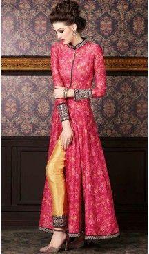 Deep Pink Silk Pakistani Long Anarkali Salwar Kameez Collection   FH434868960