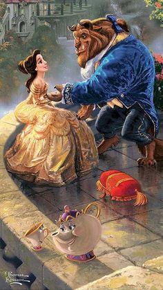 Bella y Bestia son. Thomas Kinkade Disney, Disney Belle, Disney Paintings, Disney Artwork, Disney Drawings, Disney Fan Art, Disney Princess Art, Images Disney, Disney Pictures
