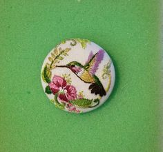 Hummingbird Hand Embroidered Studio Button Needle by TinyPaintings