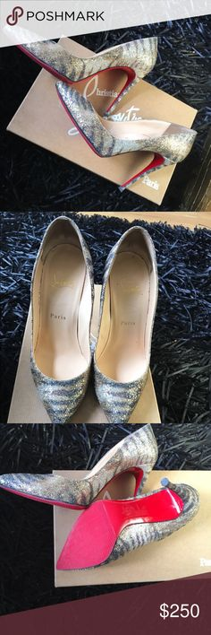 Authentic CL Red Bottoms Authentic Christian Louboutin Pigalle Follies 100 Glitter Sirene  Comes with Original Box and Dust Bag. Sole savers have been added. Christian Louboutin Shoes Heels