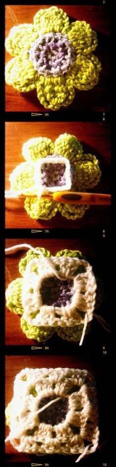 How to crochet a square to the back of a motif