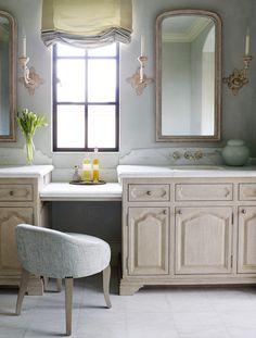 This lovely bathroom designed by Ohara Davies-Gaetano includes Niermann Weeks Rivoli Sconces.  niermannweeks.com #NiermannWeeks