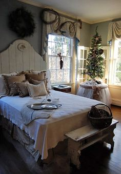 love the table skirt inspiring rustic bedroom for christmas decoration 26 Inspiring Christmas Bedroom Design With Fresh Ideas