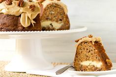 Apple-Pecan Spice Cake with Cream Cheese Filling